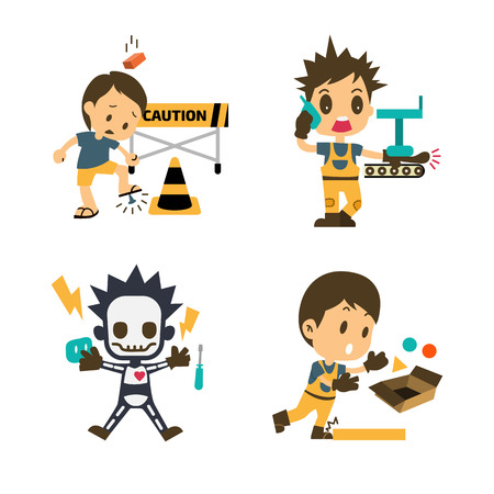 Zestaw pracowników budowlanych, pracy w wypadkach, bezpieczeństwa pierwszego, zdrowia i bezpieczeństwa, ilustrator wektorowe Ilustracje wektorowe