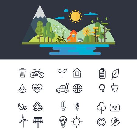 Vector flat design illustration of ecology landscape. infographic element. eco icon set