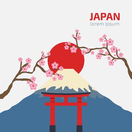 gate Torii, Mount Fuji, Japan with sakura branch, Travel and tourism concept, japanese style vector Illustration Ilustração