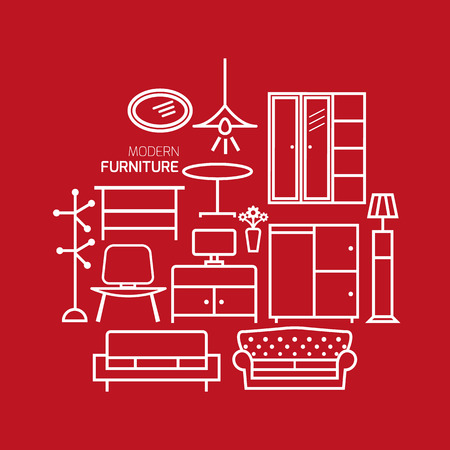 Furniture line outline icons set on red background