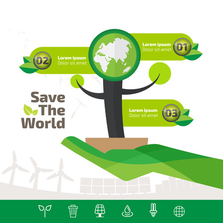 green ecology infographic element, save the world and tree eco concept. 向量圖像