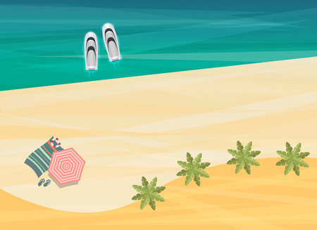 Top view of sea, boats and beach with sand, umbrellas, towels, starfish, flip flops, vector illustration