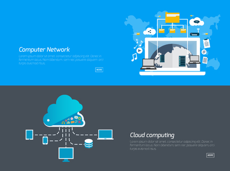 Flat design concepts for computer network, cloud computing. Concepts for web banners and promotional materials.