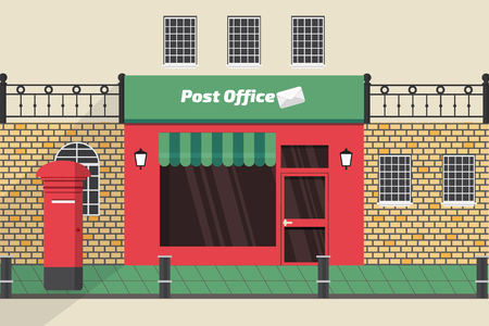 llustration Post office of the old town, flat design