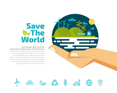 Hands holding ecology. Green concept safe idea for energy saving vector illustration 向量圖像