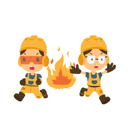 Health and safety, safety first, man running from a fire Illustration