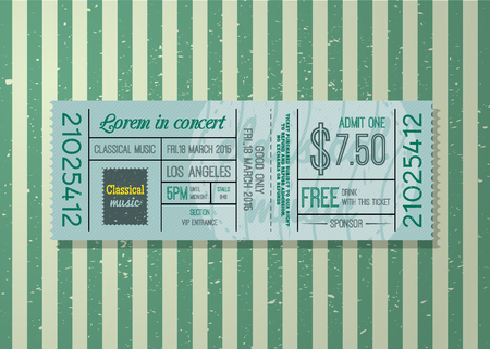 Ticket concert vintage style and information on vintage background