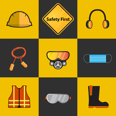 Safety first, health and safety warning signs