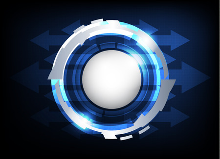 silver circle button hi-tech  abstract on dark blue background vector, technology background