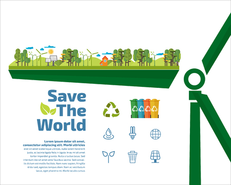 Ecology concept, save the world, Recycle Logo Vector flat illustration