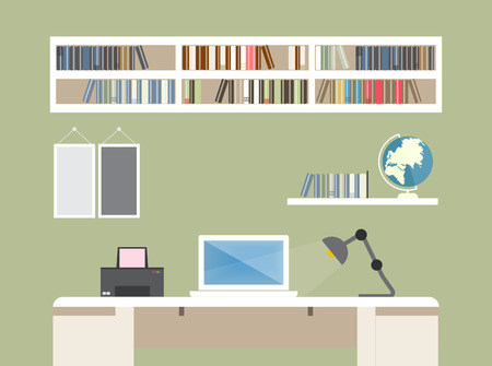 Flat design vector illustration of modern creative office workspace,workplace with notebook. The office of a creative worker. Flat minimalistic style and color.