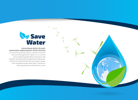 illustration of globe inside water drop on abstract background, Save water ecology
