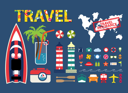 flat travel infographic element,  icons travel info