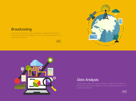 Flat design concepts for broadcast Data analysis. Concepts for web banners and promotional materials. 向量圖像