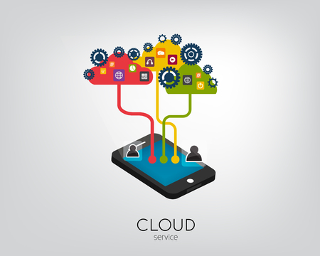 Modern 3d flat design mobile isometric concept for cloud service hosting online media file data backup storage shopping search mail. Cloud shape and icon set on threads.Cloud Service