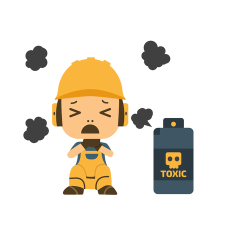 Character Gas choke, health and safety, vector illustrator.