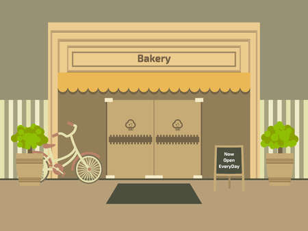 Bakery shop. Cafe and market. Flat style vector illustration. 向量圖像