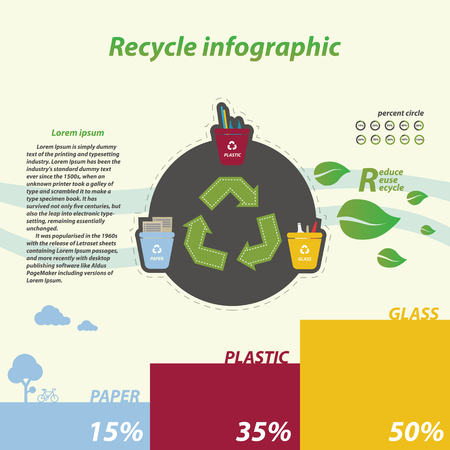 Recycle infographics, tree recycling bins illustration with paper plastic glass