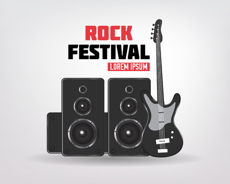 Rock music background with  guitar and speakers, Rock concert, vector illustration. 向量圖像