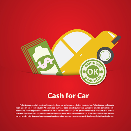 Car and money, cash for car, Exchanging concept 向量圖像