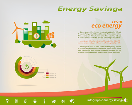 Energy saving infographics collection solar, wind, water, energy industry theme design elements, icons energy saving