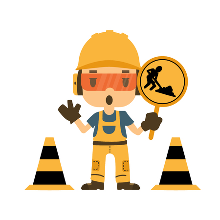 Engineer holding construction road sign, Safety and health, flat style, vector illustrator. 向量圖像