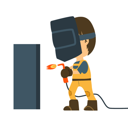 A worker wearing welding mask, protection for eyes use for welding a metal or steel. Vector flat design illustration isolated white background. 向量圖像