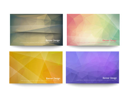 Abstract Low Poly Style, Set Business Card Design.