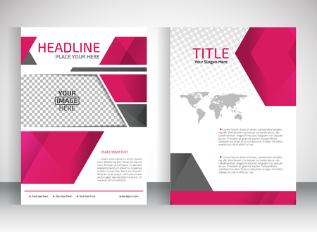 Flyer template place for pictures. Business brochure. Editable A4 poster for design, education, presentation, website, magazine cover. Pink color. 向量圖像