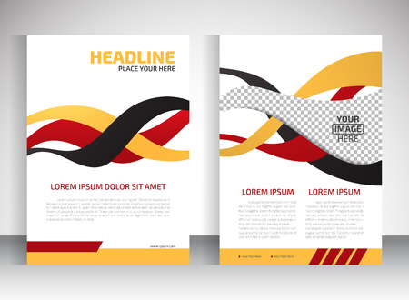 Vector design of the white flyer red black yellow elements and place for pictures. Poster template for your business.