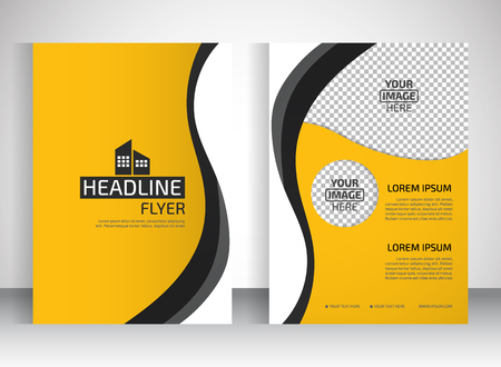 Template for brochure or flyer. Editable site for business, education, presentation, website, magazine cover.