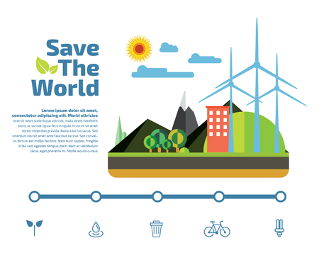 Save the world infographic flat elements, ecology concept vector illustration