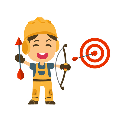 Arrow hitting target with Construction worker. Business concept.