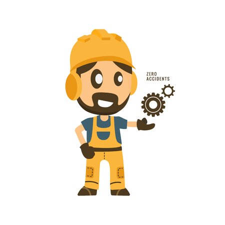 Construction worker hold zero accidents in gear importance of safety. Safety first, health and safety.