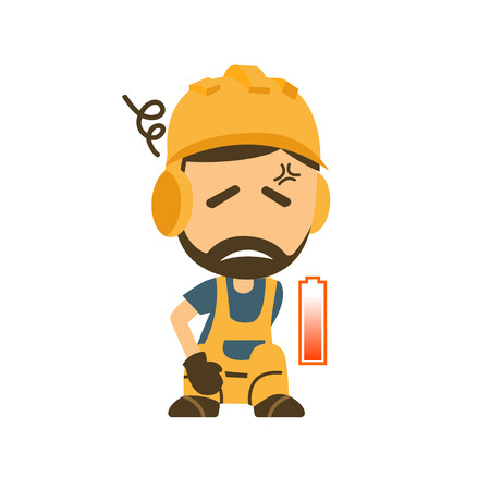 Tired and Exhausted Construction worker illustration. 向量圖像