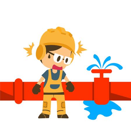 Fuite d'eau avec ouvrier du bâtiment, sécurité d'abord, panneaux d'avertissement de santé et de sécurité.