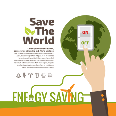 Savings concept, switch off, energy concept, idea abstract info-graphic layout. 向量圖像