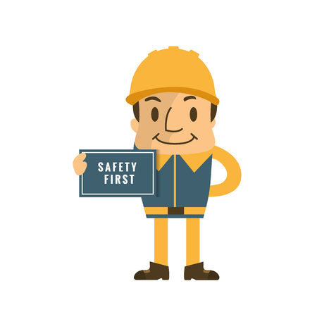 Construction worker holding safety first sign, safety first, health and safety. 向量圖像