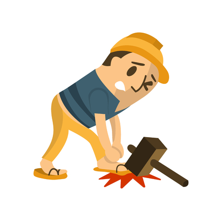 Construction worker in an accident.safety first, health and safety, vector illustrator.
