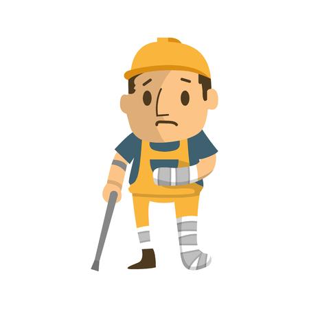 Trabajador de la construcción gravemente herido caminando sobre cructhes.