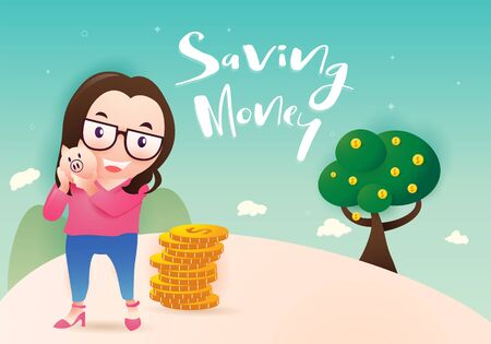 Girl holding piggy bank vector illustration. Cartoon smiling woman in standing. Saving money concept