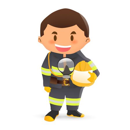 Firefighter wearing the protection gear. 向量圖像