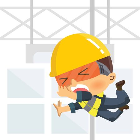 Worker falling from high. Workplace accident or construction safety concept.