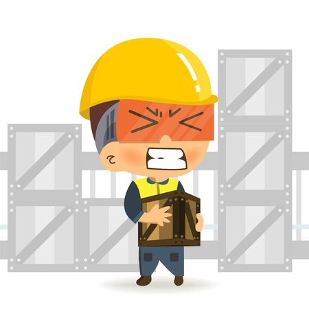 Character constructor worker cartoon of walking carrying heavy box and get pain from backache.