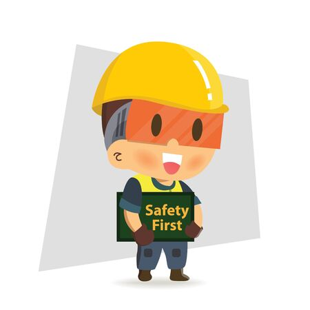 Character Worker Construction holding safety first sign.Safety rules.