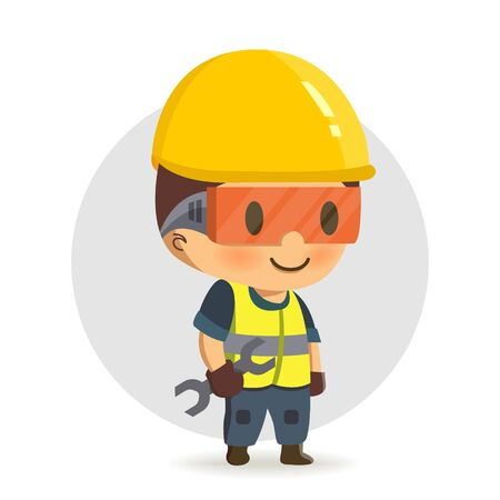 Construction worker holding a spanner or wrench.