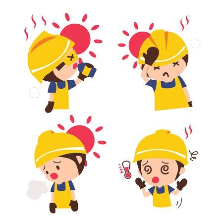 Set construction worker with symptoms of heat stroke.Industrial safety cartoon.vector illustration Illustration