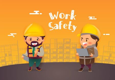 Construction worker repairman thumb up banner.safety first, health and safety, vector illustrator  Illustration