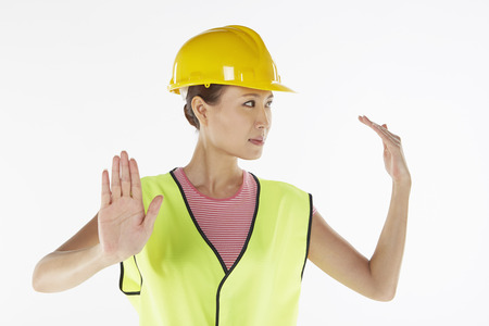 Construction worker directing traffic