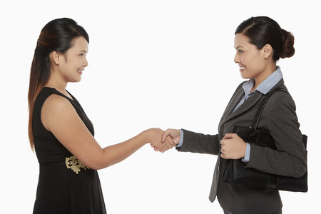 courteous: Two businesswomen shaking hands